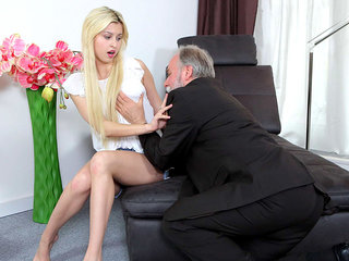 Cute young blonde has a thing for older men